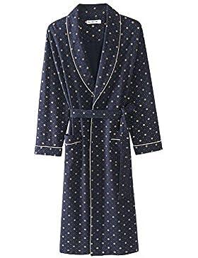Albornoz de los hombres Pijamas de algodón de primavera y otoño/Fashion dot Vestido de noche Albornoz fino