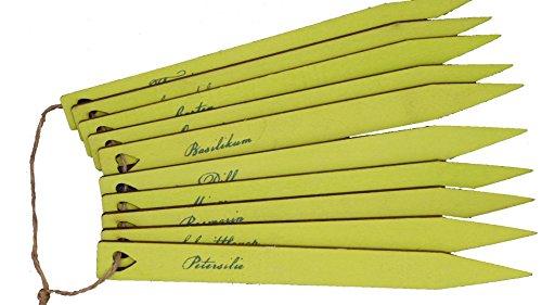Kräuterschilder / Kräuterstecker / Steckschilder Kräuter - 10er Set - Länge 17cm - grün mit Aufschrift