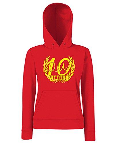 T-Shirtshock - Sweats a capuche Femme T0618 roma 10 vittorie calcio ultras Rouge