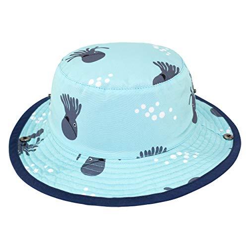 ANIMQUE Baby Fischerhut Cowboyhut Baumwolle Sonnenhut Jungen Mädchen Hut Sommer UV Schutz Krakemotiv Himmelblau, Kopfumfang 50-52cm XL