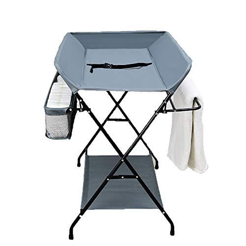 Tables à langer pour Bébé Grise Table De Soins De Massage pour Nouveau-né Table De Toucher pour Bébé Multi-Fonction Pliable