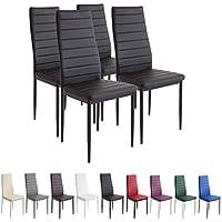 Albatros Milano - Set de 4 sillas de Comedor, Estructura metálica y Piel sintética, Estilo Italiano, Negro