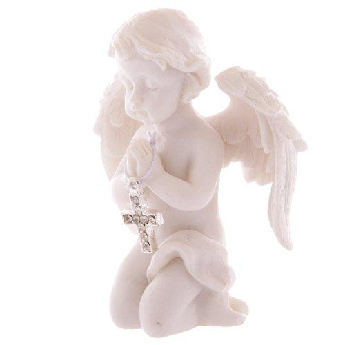 Hermoso angelito rezando con adornado de cruz con joyas, regalo para madres y abuelas