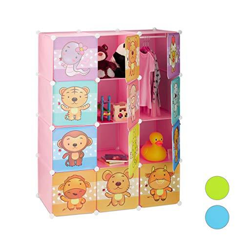 Relaxdays scaffale componibile per la cameretta dei bambini, immagini graziose di animali, ante e bastone appendiabiti, metallo, rosa, 145 x 110,5 x 46,5 cm ca