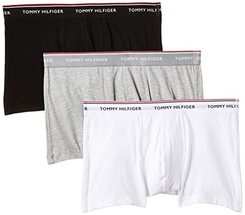 Tommy Hilfiger Herren Shorts 3P TRUNK 1U87903842, Gr. Large, Schwarz (Black/Grey Heather/White 004)