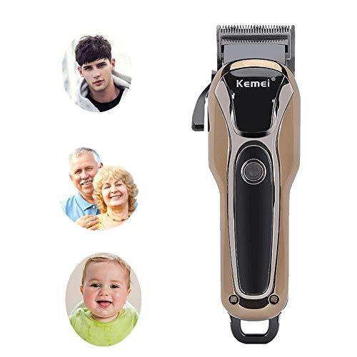 Professionale Cordless Electric Hair Clippers Kit Strumenti per lo styling Display LCD Asciutto e bagnato Disponibile Motore silenzioso Ricaricabile (Marrone)