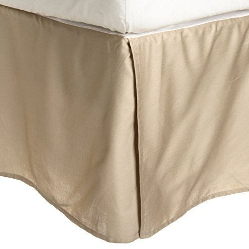 100% Brushed Microfiber Bed Skirt, King, Tan, Wrinkle Resistant, Pleated Corners by Luxor Treasures - Tan King