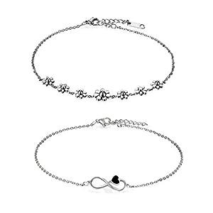 Oidea Damen Armband Fußkette, Charme Lieben Infinity Zeichen Armreif Fußkettchen Freundschaftsarmband Partnerschaftsfußkette, Edelstahl, Silber (Gänseblümchen+Infinity)