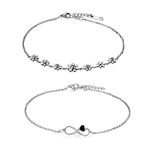 Oidea, 2 pezzi, cavigliere da donna, di colore argento, una con margherite e una con cuore e simbolo dell'infinito, regolabili, regalo per donna.