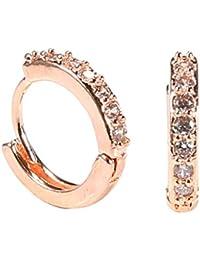 5c023c78f4ef Zilosconcy Pendientes de aro con Diamantes Joyería de Moda Oro de aro  Silber Elegante Mujer de