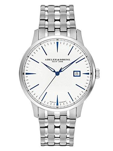 Abeler & Söhne fabricado en Alemania Reloj de hombre con correa de acero inoxidable, cristal de zafiro y fecha as3021m