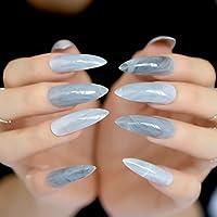 EchiQ Extra Long Gray Marble Stiletto False Nails Tips Oval Sharp End Stilettos Fake Nail ABS Artificial DIY UV Gel Nail Art Tips