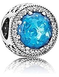 Pandora Damen-Charm Himmelblauer Strahlenkranz der Herzen 925 Silber Kristall blau Brillantschliff - 791725NBS
