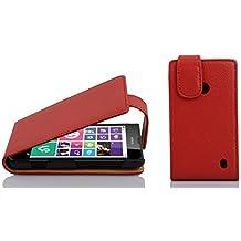 Cadorabo - Funda Flip Style para Nokia Lumia 630 / 635 de Cuero Sintético - Etui Case Cover Carcasa Caja Protección en ROJO-INFIERNO