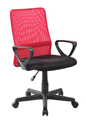 VIVACE Emilia Silla de Oficina, Metal, Rojo y Negro, 61 x 56 x 85 cm