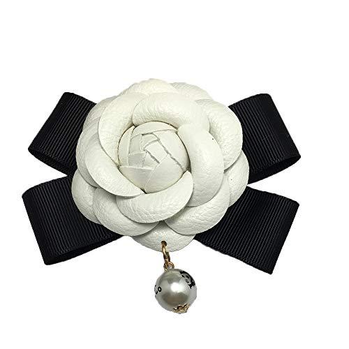 """Camellia Blumen-Brosche 2.4\"""" Vintage Leder Bow Blumen Pin für Frauen-Kleid-Schal Brosche Pins Schmuck Accessoires Geschenk Weiß 1 PCS"""