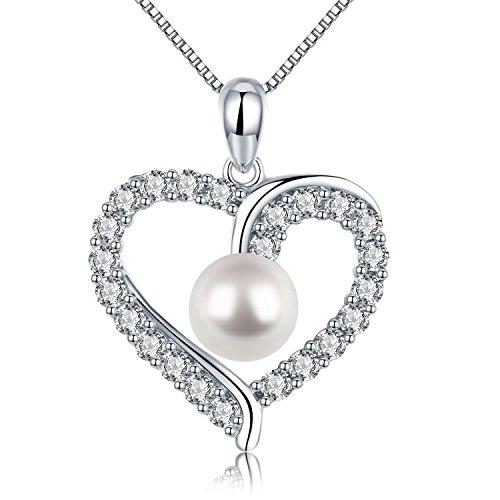 Herz Kette Damen Halskette 925 Sterling Silber Muscheln Perle Anhänger Schmuck Zirkonia 45CM Kettenlänge Geschenk für Damen