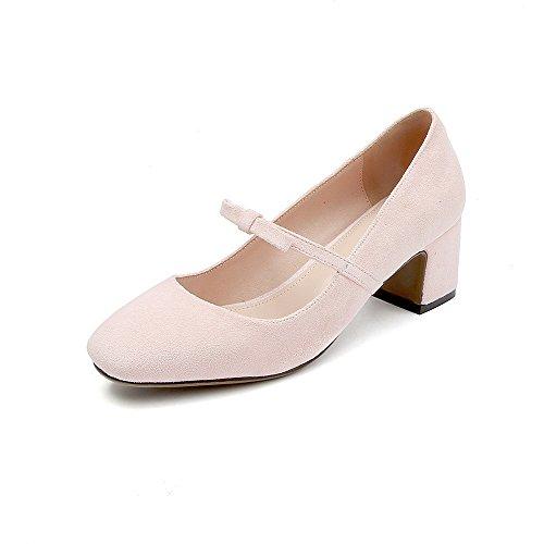 Bow Tie Frauen singles Schuhe bequem mit Fett, große Zahlen mit quadratischen Kopf einzelne Schuhe, nackten Rosa 39 (Bow Handtasche Rosa)