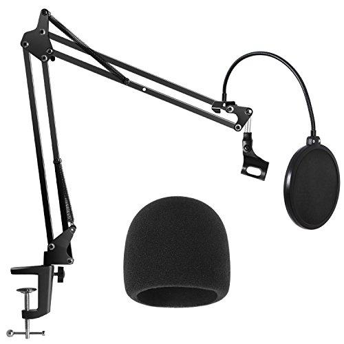 InnoGear Lourds Robuste Support de Micro avec à Double Couche Microphone Filtre Anti Pop et Microphone Couverture de Pare-Brise pour Blue Yeti, Snowball, Blue Spark et Autres Microphones