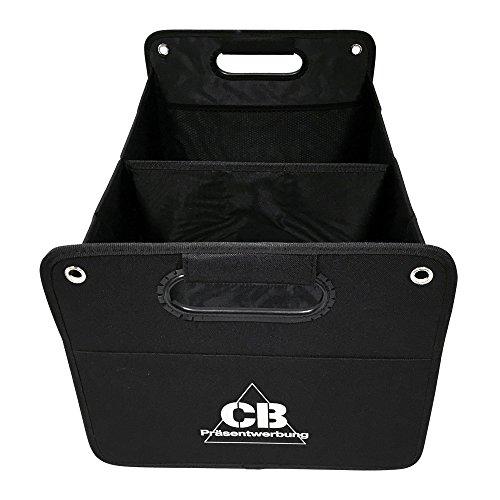 Preisvergleich Produktbild Kofferraumtasche aus Polyester mit stabilem Boden (schwarz inkl. Druck CB) - Klappbox Kofferraumbox Faltbox Organizer Autobox Tasche Auto Kofferraum Zubehör CB Präsentwerbung GmbH