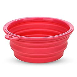 Bowl - TOOGOO(R) Feeder Foldable Silicone Magenta Bowl for Dog Cat Pet