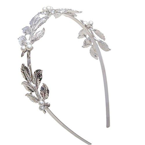 Yueling Braut Haarschmuck Haarbänder Gold Blätter Kranz Vintage Pearl Hochzeit Tiara Stirnband Frauen Mädchen Haarkrone Silver (Silver Christmas Garland)