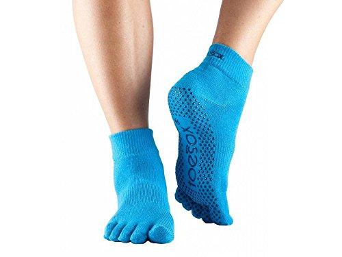 ToeSox Yoga Full Toe Ankle Socken, Unisex Erwachsene M Blau (Skydiver)