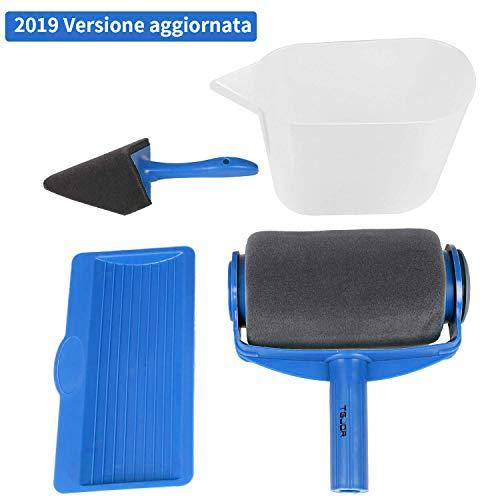 Rullo per pittura con serbatoio professionale, rottay 5 set di kit rulli per pittura, blu [2019 upgraded]