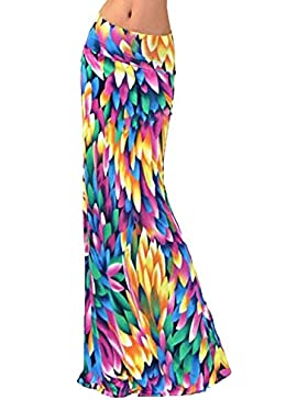 Multicolor Impreso Falda Maxi Falda De Playa De Primavera Para Las Mujeres Cintura Alta Como la imagen 2XL