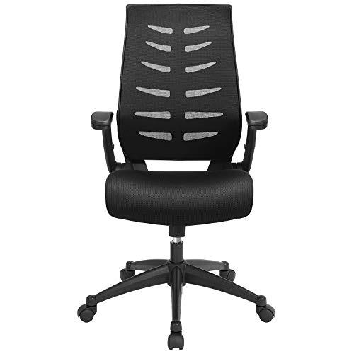 SONGMICS Bürostuhl, ergonomischer Schreibtischstuhl mit Armlehnen, Höhenverstellung und Wippfunktion für Soho- oder Büroarbeit, Belastbar bis 150 kg, Schwarz OBN54BK