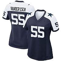 Mujeres en el Rugby Jersey Dallas Cowboys Equipo Vander Esch # 55 Tech Transpirable Jersey Vestido la Camiseta de Rugby Traje (Color : Royal Blue B, Size : S)