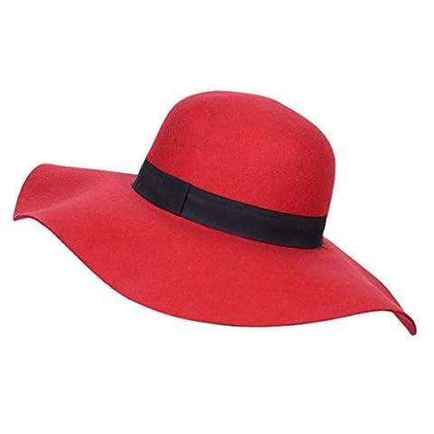 Feutre à large bord Chapeau fedora en laine pour femme vintage Melon 4couleurs pour femmes Casquette pour - rouge -