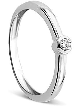 Orovi Damen Verlobungsring Gold Solitärring Diamantring 9 Karat (375) Diamant 0.07crt Weißgold Ring mit Diamanten