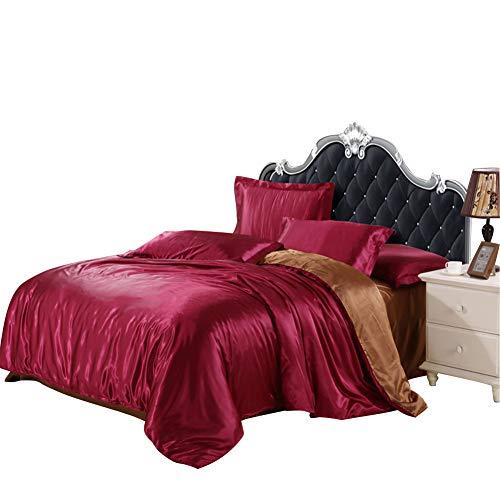 Pterygoid Collection Bettbezug-Set aus Satin-Quilt - Silk Bettwäsche-Sets, Weinrot mit Braun, König (220x240cm) - Passform für 1,8-m-Bett -