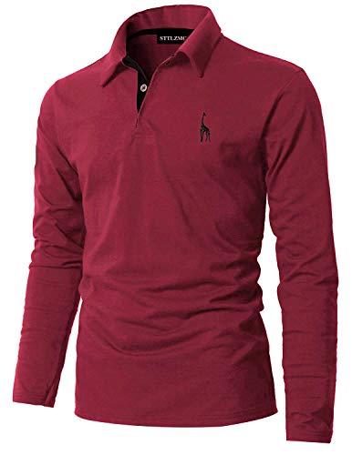 STTLZMC Poloshirt Herren Langarm Basic T-Shirt Freizeit Giraffe Stickerei Polohemd,Rot 1,XXL