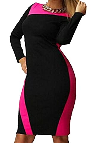 Tootlessly Women's Long Sleeve Fashion Slim Fit Short Dress Rose