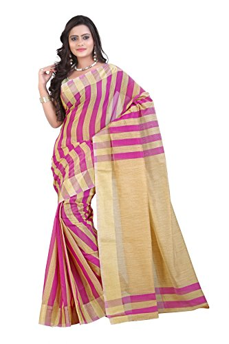 Mimosa Women Kanchipuram Cotton Silk Saree with Jute Stripes with Blouse (3039-7017-Mejan, Red)