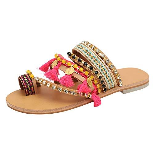 SHE.White Bohemien Ethnisch Stil Eben Schuhe Weiblich Sandalen Strass Sandalen Strand Slipper T-Strap Flip-Sandalen Flip-Flop Sommerschuhe Sandalen Hot Pink Lady Hot Pink Leder