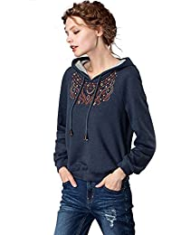 Artka Women's Casual Vintage Long Sleeves Pullover Sweatshirt Solid Color Hoodie with Embroidery
