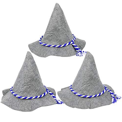 com-four® 3x Seppelhut für Oktoberfest, Karneval oder Fasching, Trachten-Hut aus Filz mit blau/weißer Kordel, 37 x 27 cm (03 Stück - Seppelhut) (Tiroler Bauer Kostüm)