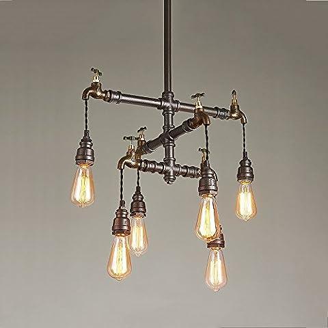 Cgjdzmd Decke Pendelleuchten Loft Vintage Industrial Schmiedeeisen E27 Edison Pendelleuchten Lampen Wasser Pipe Pendelleuchte Perfekt für Esszimmer Küche Bar Dekoration E27 Max 40W ( Size : Six heads )
