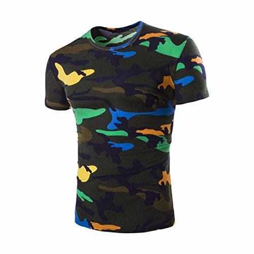 QIYUN.Z Männer Tarnung Kurze Hülse/Ärmel Hipster Camo T-Shirt Turnhalle Muskel-Shirts Dunkelgrün Tarnung