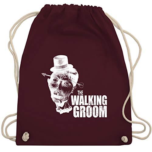 JGA Junggesellenabschied - The Walking Groom weiß - Zombie JGA - Unisize - Bordeauxrot - WM110 - Turnbeutel & Gym (Zombie Bräutigam Kostüme)