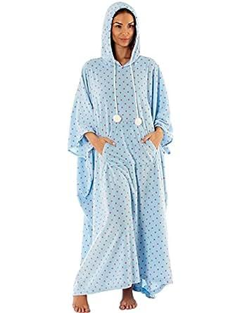 femmes poncho caftan v tement de loisirs grande taille lounge pyjama chaude bleu taille. Black Bedroom Furniture Sets. Home Design Ideas