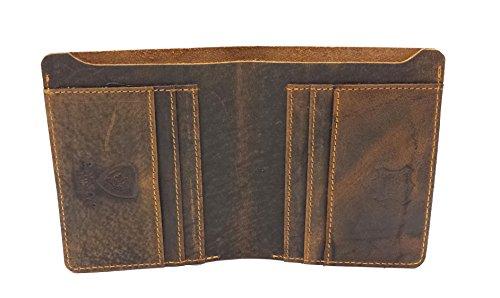 Designer J WILSON London Mauvais Crafted Real Distressed Leather Mens Portefeuille Credit Carder Holder Bifold Slim Raw Huile Hunter Purse avec Boîte Cadeau