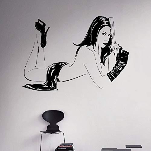 guijiumai Mädchen Mit Pistole Wand Vinyl Aufkleber Revolver Pistole Vinyl Aufkleber Waffe Home Interior Removable Decor Haushaltswaren grau 86x132 cm -