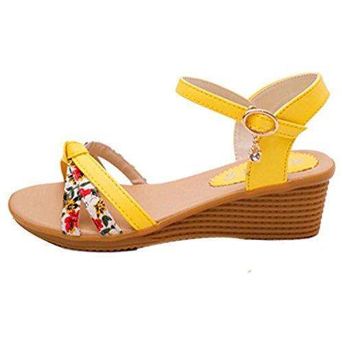 Sapatos Verão De toe Hunpta Aleta Amarelo Sandálias Roman Senhoras Aleta Da Peep Meia Sapatos TSwtIHxxq