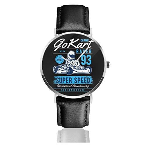 Unisex Business Casual Champion Go Kart Racer Uhren Quarzuhr Leder schwarz Armband für Männer Frauen Young Collection Geschenk