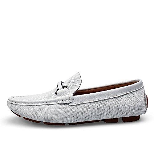 Jamron Hommes Cuir Véritable Délicat Plaid Gaufrage Boucle Plat Moccasin Élégant Formel Chaussures d'Affaires Blanc