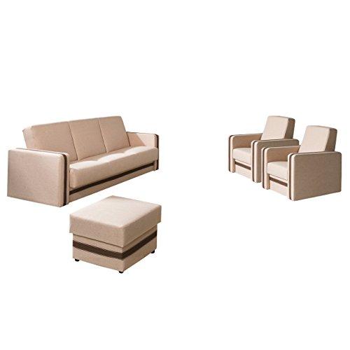 Mirjan24  Polstergarnitur Euforia Quadro 3+1+1 und Hocker, Sofa mit Bettkasten und Schlaffunktion, 2 Sessel, Bettsofa, Polstermöbel Bettfunktion Couch (Lux 24 + Lux 12)